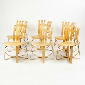 Details about Set of Six Frank Gehry for Knoll Hat Trick Dining Side Chairs  Maple 1990's