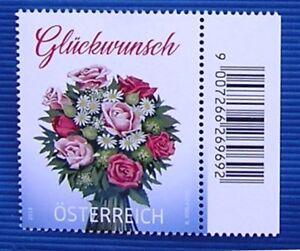 034-Glueckwunlsch-034-Blumenstrauss-Grussmarke-Michel-3433-Osterr-SM-2018-Randstueck