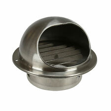 Stainless Steel Round Bull Nose Mesh Grill Outlet Exhaust Extractor Wall Vent 5""