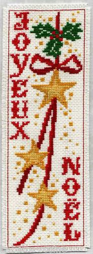 Grille point de croix JOYEUX NOËL MARQUE-PAGE réf : 6515
