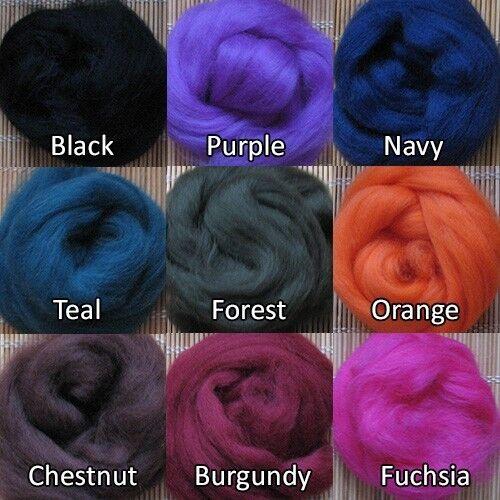 100 g Merino lana cardada 64 de teñido de fibras-Chartreuse sintió que Y Spinning