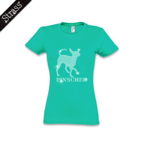 Strass Pinscher Chien M1 shirt Image Pièrres Femmes Coton T Pincher wOB1qt0O