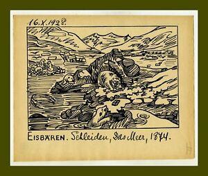 1928-Polarbaer-Russische-Kunst-Russian-artist-Ivan-Sermoskin-Polar-bear-Original