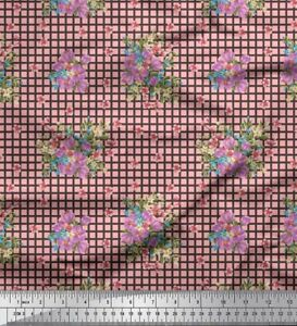 Soimoi-Stoff-ueberpruefen-Blaetter-amp-Miosotis-Blumen-Stoff-1-Meter-FL-1068H