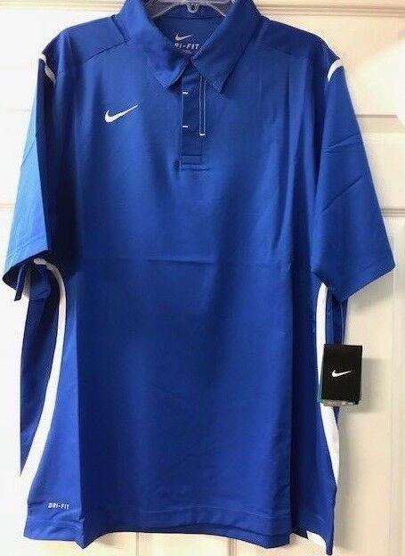 Nike Herren Stretch Gewoben Dri - Fit Polohemd Königsblau Weiß 100%Polyester Neu