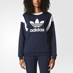 Detalles acerca de Adidas Originals Mujer Retro Trébol Logo Sudadera Moda  Informal Azul Marino- mostrar título original