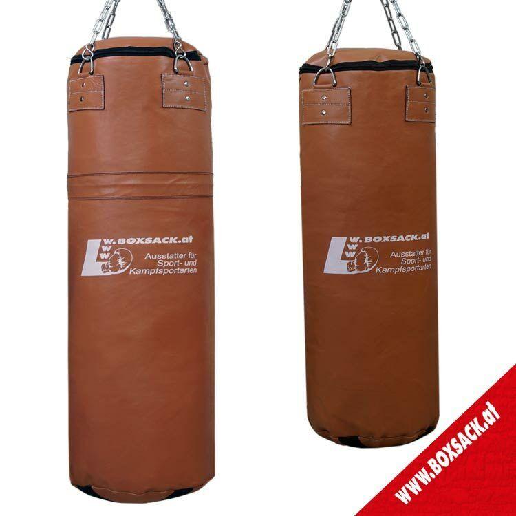 Profi Retro Boxsack aus Rindsleder - Braun - gefüllt