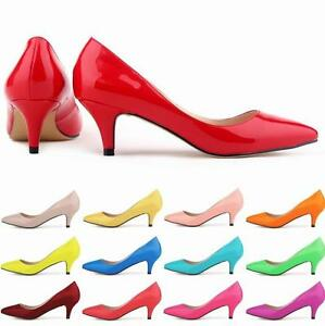 Women-039-s-Low-Mid-Kitten-Heels-Office-Work-Patent-Leather-Pointed-Toe-Pumps-Shoes