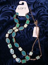 "NWT Ann Taylor Loft Necklace 36""  Shades of Green Mint & Blue Green Cabochons"