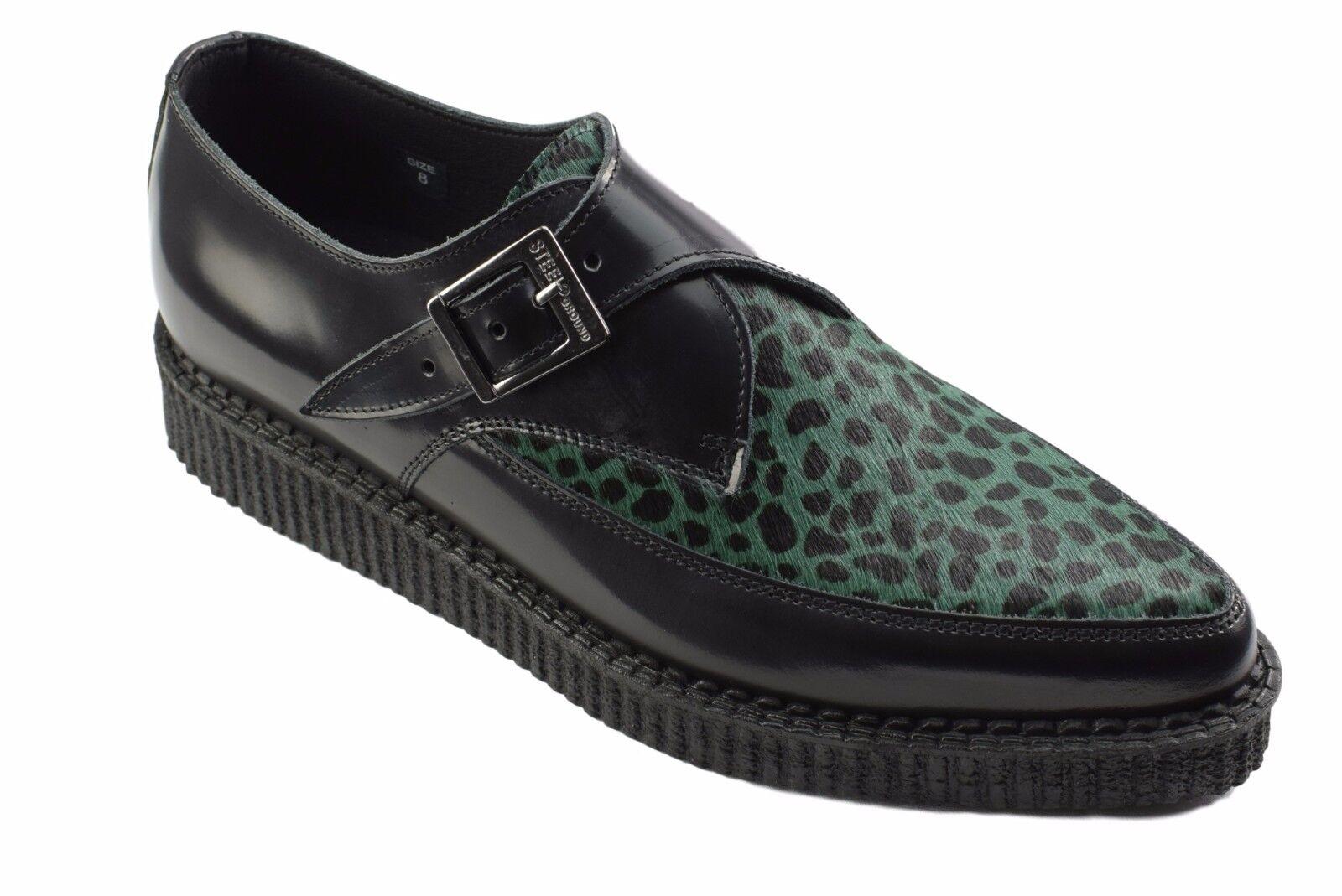 Steel Ground Schuhes schwarz Leder Green Leopard Hair Creepers Monk Buckle Pointed