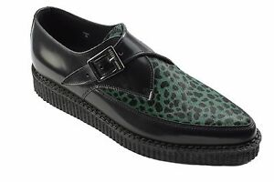 Leopard Steel Leather Shoes Ground Black Creepers Buckle Green Pointed Hair Monk q4RXqwr