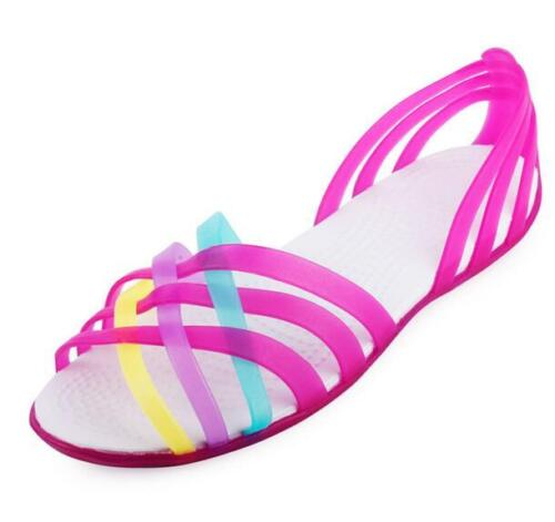Womens summer beach flat sandals Peep toe jelly colorful hollow Out Beach shoes