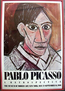 1980 PABLO PICASSO Lithograph Poster Limited Ed. Self Portrait MoMA Exhibition