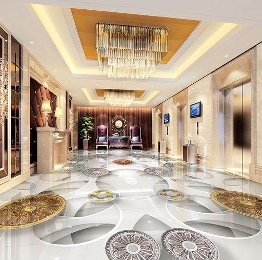 3D Engraving Fond d'écran étage Peint en Autocollant Murale Plafond Chambre Art