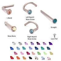 Titanium Nose Stud Ring Bone 1.5mm Gem Bezel Gauge 18G 20G