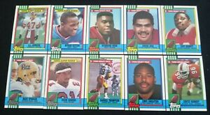 10-x-Topps-1990-NFL-Gridiron-Rookie-Cards-Bulk-Lot-SEAU-SANDERS-WEBB-HOF