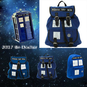 Doctor-Who-Tardis-Dr-Who-Backpack-Canvas-Shoulder-Bag-Slouch-Bag-Purse-XMAS-Gift