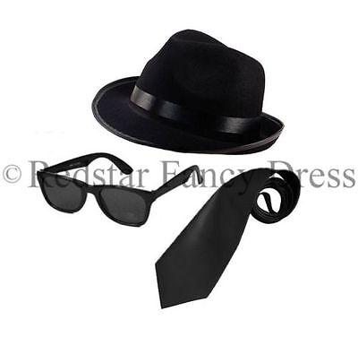 Blues Brothers Chapeau et Lunettes gangster trilby set stag Nuit Déguisement