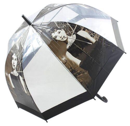 Audrey Hepburn Retro Regenschirm DOME Form Griff Walking transparent 81 cm