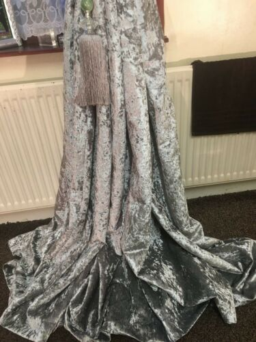 tapetop,lined 6 sizes available heavy weight silver crushed velvet curtains