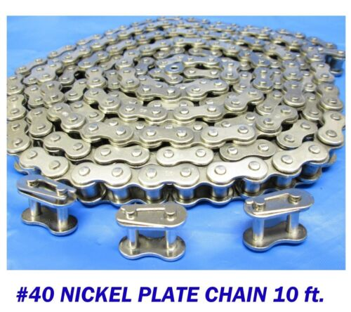 3 Master Links 40 Chain Bulk Chain Gate Opener Nickel Plate 10 FT
