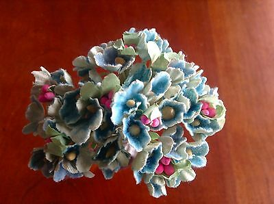 Velvet Millinery Flowers Pale Silver Gray Forget Me Nots Bunch for Hats Weddings Corsages Hair Combs 2FN0022GR Bouquets