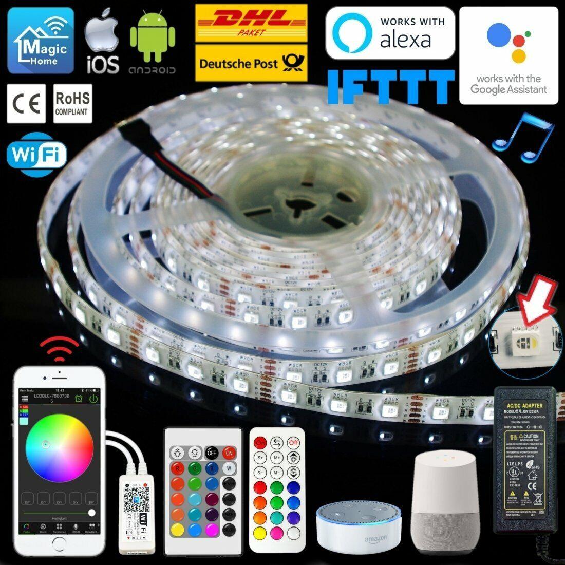 1-10M 4 in 1 RGBW LED Selbstklebend Wasserdicht Strip Wifi Funk RF   IR Control