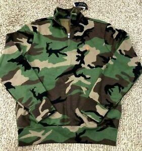 Polo-Ralph-Lauren-Men-039-s-SZ-XL-1-4-Zip-Army-Camo-Orange-pony-Fleece-Sweatshirt