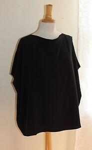Eskandar-Sz-0-Elegant-Black-Silk-Crepe-Boxy-Cowl-Neck-Short-Sleeve-Blouse-Top