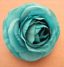 "3 1/2"" Turquoise Ranunculus Silk Flower Hair Clip,Wedding,Prom,Dance,Luau"