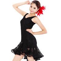 Ladies Sexy Mini Womens Latin salsa tango Ballroom Dance Dress Lace Skirt Black