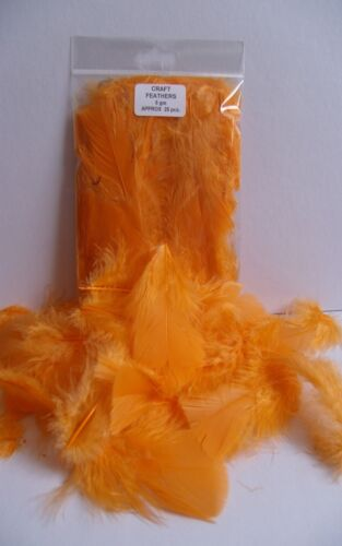 """1.5 />3.5/"""" ORANGE CRAFT FEATHERS 5gm Approx 20-25 pcs  30 />75 mm mixed"""