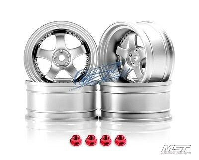 MST Flat silver SP1 1/10 Drift Car Wheels offset 9 (4 PCS) 102066FS New