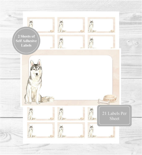 Blank For Address Labels//Fun Gift Tags Siberian Husky 42 Self Adhesive Stickers