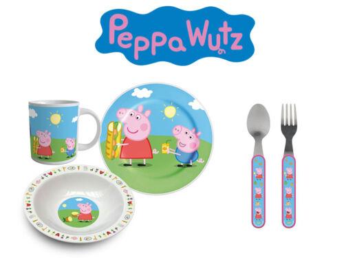 Peppa Wutz Pig Frühsstücks-Set Kinder Geschirr 2 Teller, Tasse, Löffel, Gabel