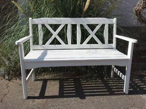 Holz Gartenbank, Gartenmöbel, Sitzbank, Terassenmöbel,weiß lackiert ...