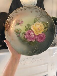 Antique-CT-Carl-Tielsch-Germany-Hand-Painted-Gilt-Server-Charger-Plate-12