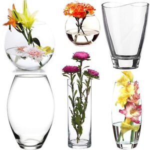 225 & Details about Clear Glass Flower Vase Home Wedding Modern Floral Display Table Centrepiece