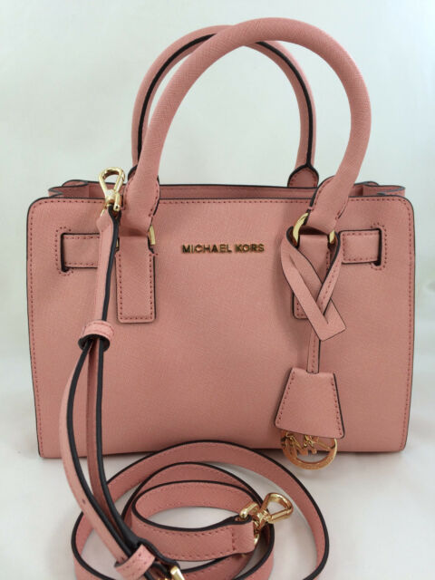 New Michael Kors Mk Dillon Small Saffiano Leather Satchel Handbag Purse Pink