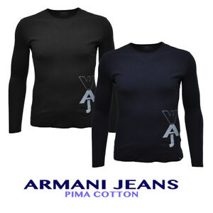 ff877febc08a Das Bild wird geladen ARMANI-JEANS-Langarmshirt-Shirt-Aufdruck-Print-6Y6T91 -6J17Z-