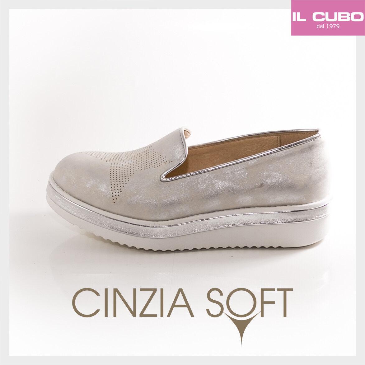 CINZIA SOFT SCARPA Damens MOCASSINO PELLE COLORE ARGENTO ZEPPA H 4 CM M.IN ITALY