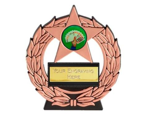 PU mega star CARDS Poker night trophy free engraving gold silver bronze trophies