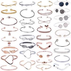 Donna-Bracciale-Braccialetto-Plate-Silver-Charm-palla-bloccaggio-Bracelet-Bangle