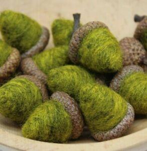 12 Primitive Fall Chartreuse Green Acorn Bowl Fillers Needle Felt Wool Folk Art