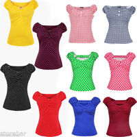 Polka Dot Top Retro Vintage Pin Up Rockabilly Tattoo 40s 50's  Casual Blouses