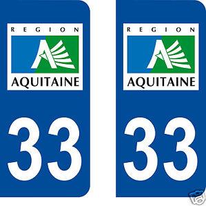 100% De Qualité Stickers Autocollants Plaques Immatriculation Auto Département Gironde 33 Prix Raisonnable