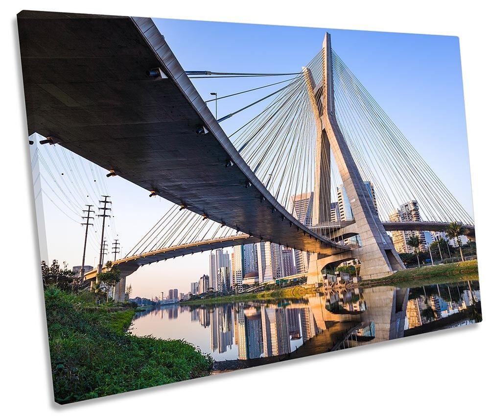 Sao Paulo Bridge Brazil Framed SINGLE CANVAS Drucken Wand Kunst