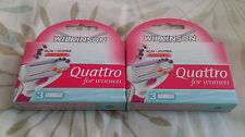 2 X WILKINSON SWORD QUATTRO BLADES FOR WOMEN 3 IN EACH PACK BRAND NEW IN BOX