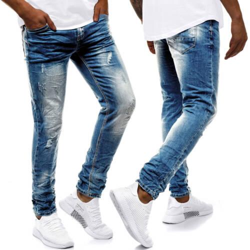 JEANS Pantaloni Jeans A Sigaretta Straight Slim Fit Pantaloni Clubwear Uomo OZONEE 9101 MIX