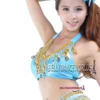 BELLY DANCE DANCING COSTUME BRA TOP GOLD TRIM HALTER NECK FREE SIZE 9 COLOR SEXY